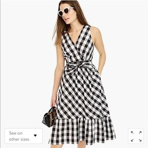 J Crew Sleeveless faux-wrap dress in gingham Size4